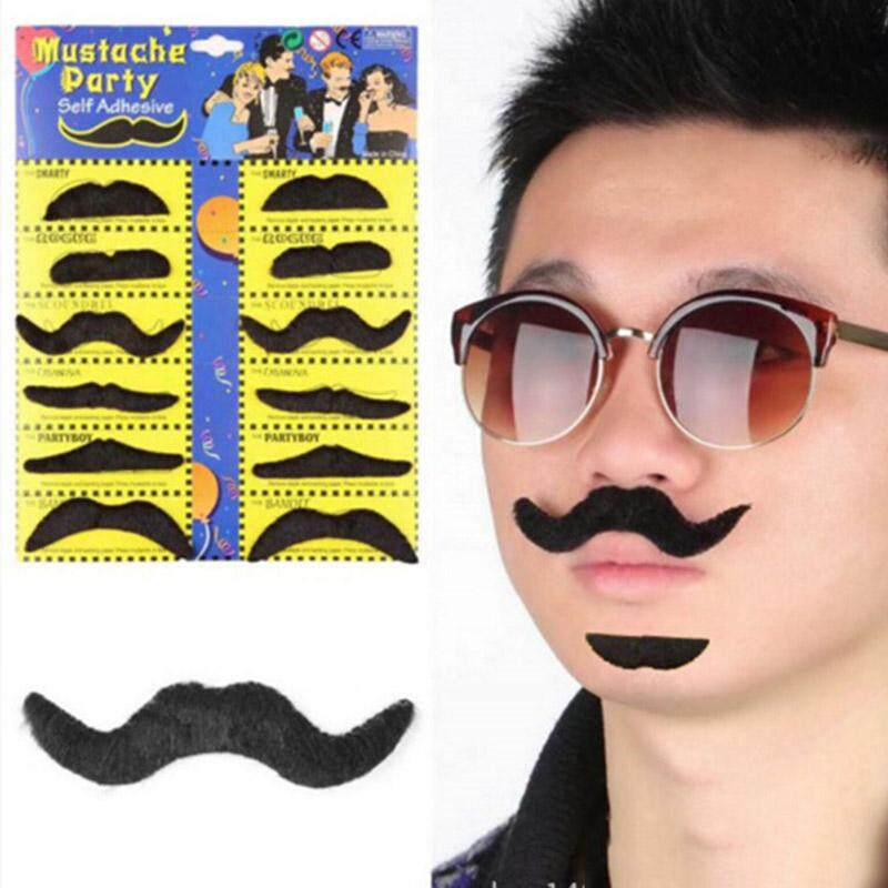 yuexiangtec 12pcs/set funny black fake beard wig mustache halloween costume party beards wigs hair face decoration kids children gifts