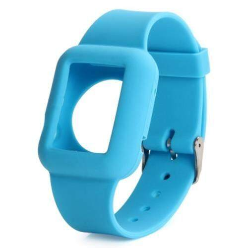 42MM SOLID COLOR SILICONE MATERIAL WATCHBAND WITH BUCKLE CLASP FOR APPLE WATCH (BLUE)
