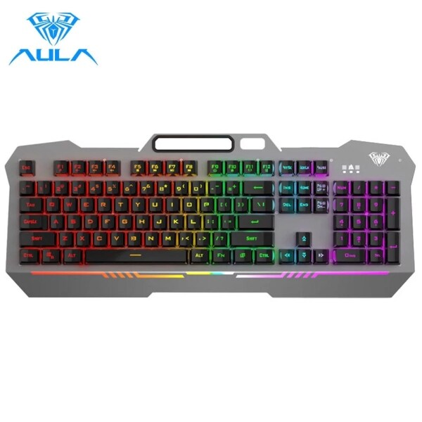 AULA F3010 Wired Gaming Keyboard Mix Backlit LED Gamer Keyboard 26 Keys Anti-ghosting Ergonomic Metal Panel  for Desktop Laptop Singapore