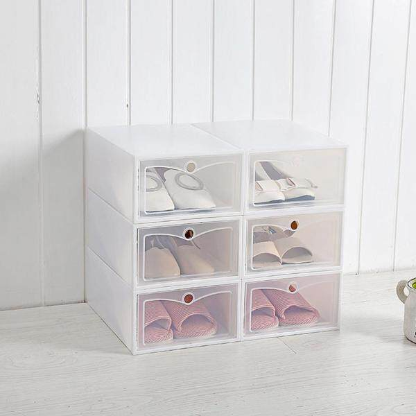 BH 6Pcs/Set Multifunction Unisex Transparent Storage Box With Cover For Shoes Style:large