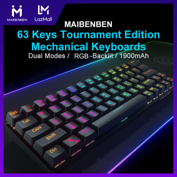 [Local Warranty] MAIBENBEN Wireless Bluetooth Type-C Wired Tournament Edition Mechanical Keyboards Red Blue Switch 63Keys RGB Backlit Gaming Keyboard Computer Accessories Game At Home Free Shipping