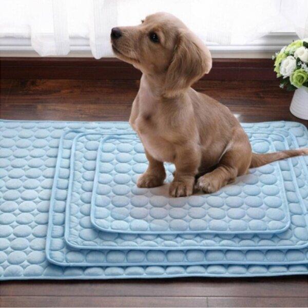 Lạnh Cảm Thấy Thảm Chó Ổ Chó Vật Nuôi Miếng Lót Vải Su Mèo Mát Pad Mềm Đệm Thoải Mái