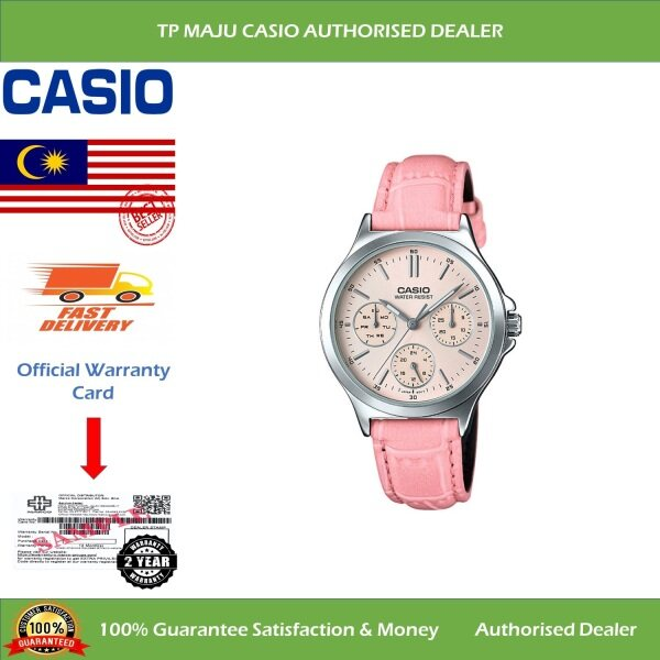 CASIO LTP-V300L Analog Ladies Casual Formal Luxury Watch Water Resistant Pink Dial Day Date & 24hrs Leather Band for Women - LTP-V300L-4AUDF ( Official 2 Years Warranty ) Malaysia