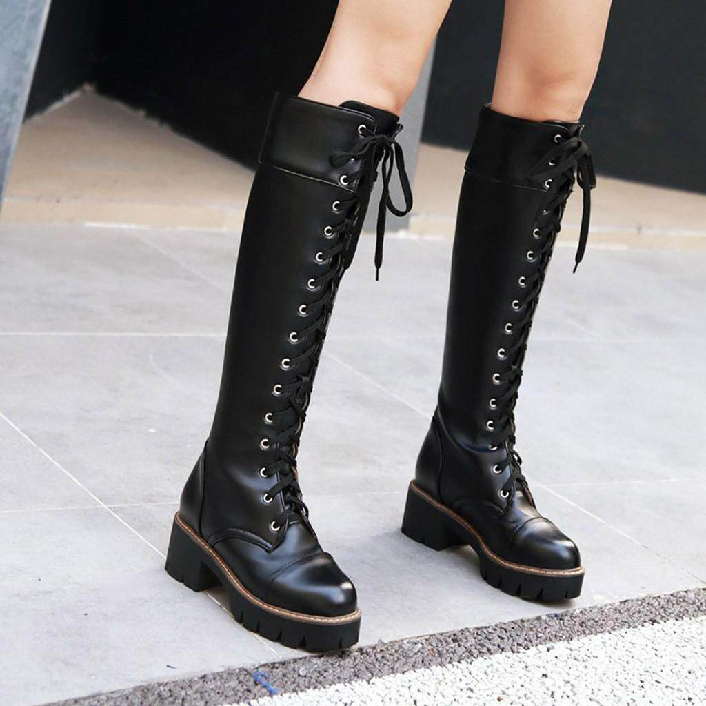 BOBO MALL COD Women Warm Boots Square Heels Shoes Lace-Up Casual Long Fashion Booties