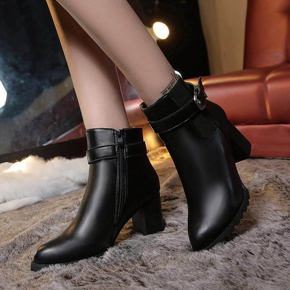 Guo Women Autumn Winter Short Boots High Heel Shoes Boots Ankle Boots Shoes By Hongshouguostore.
