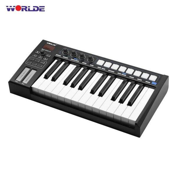 ღ♬MYladyWORLDE Blue whale 25 Portable USB MIDI Controller Keyboard 25 Semi-weighted Keys 8 RGB Backlit Trigger Pads LED Display with USB Cable Malaysia