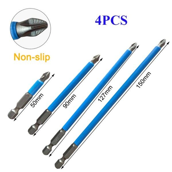 4x Non Slip Magnetic PH2 Long Electric Screwdriver Bits 1/4 Hex Shank S2-Steel
