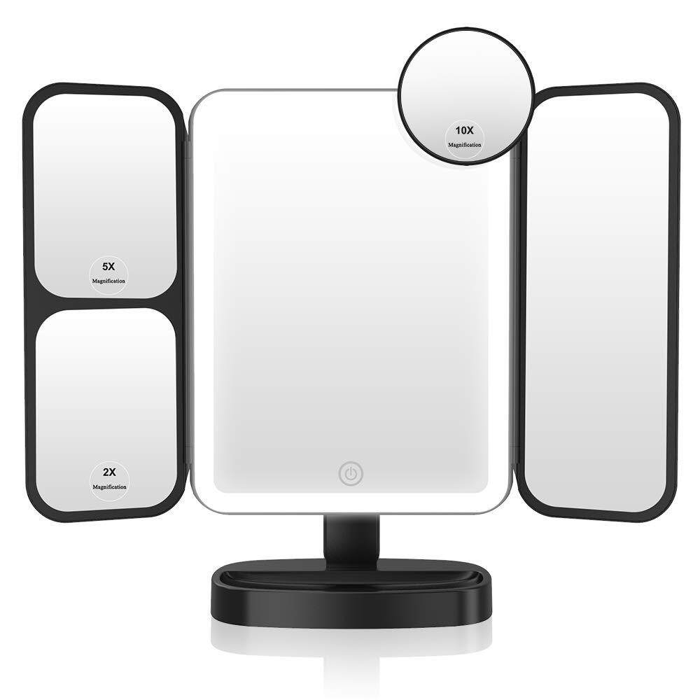 Easehold Makeup Vanity Mirror with Lights 38 LED 1X/2X/5X/10X Magnifying Soft Natural Light Ultra-Thin Stable Base Portable 180 and 90 Rotation Touch Screen Dual Power Supply (Black)..