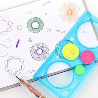 Spirograph Geometric Ruler Drawing Toys 1 Set Interlocking Gears & Wheels Accessories toys for girls