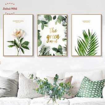 3Pcs 50X70cm Unframed สีเขียวพืชดอกไม้ภาพผนังศิลปะตกแต่ง, green Mood โปสเตอร์ผ้าใบวาดภาพภาพติดผนังสำหรับห้องนั่งเล่นโปสเตอร์ติดผนังและพิมพ์ SAN113-