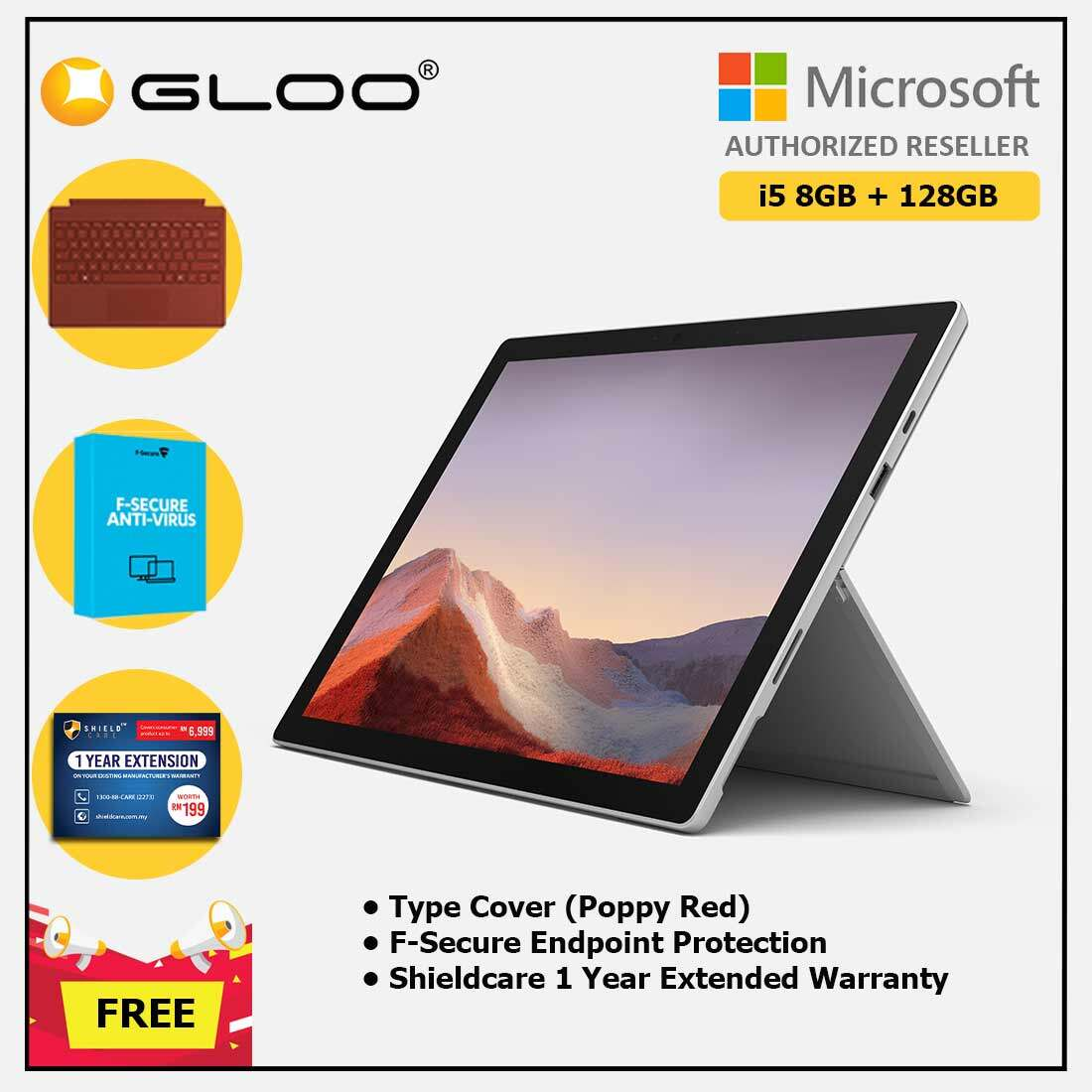 Microsoft Surface Pro 7 Core i5/8G RAM - 128GB Platinum - VDV-00012 + Surface Pro Type Cover Poppy Red + Shield Care 1 Year + F-Secure 1 Year[FOC RM100 Aeon Voucher 21/3/2020 - 31/3/2020 While Stock Last] Malaysia