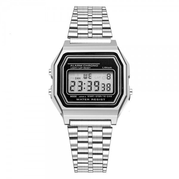 [Ready Stock] E-BELI Unisex Gold Silver Steel LED Digital Men Women Watch Sports Watch Malaysia
