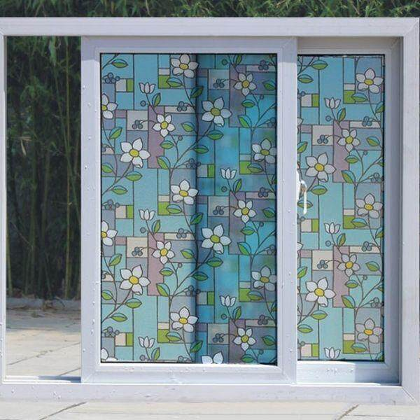 DIY Privacy Window Tinted White Flowers Frosted Glass Window Film Tint