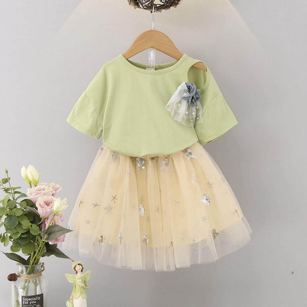 Fashion Toddler Kids Baby Girl Flower Cotton T-shirt Top+Tutu Dress Skirt Outfit