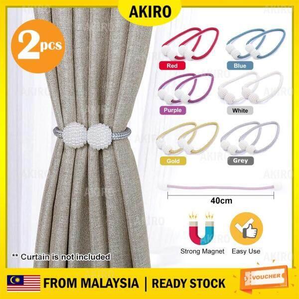 AKIRO HOME 2pcs Premium Pearl Design Magnetic Curtain Holder Buckle Tieback Clips Home Window Accessories Pengikat Langsir