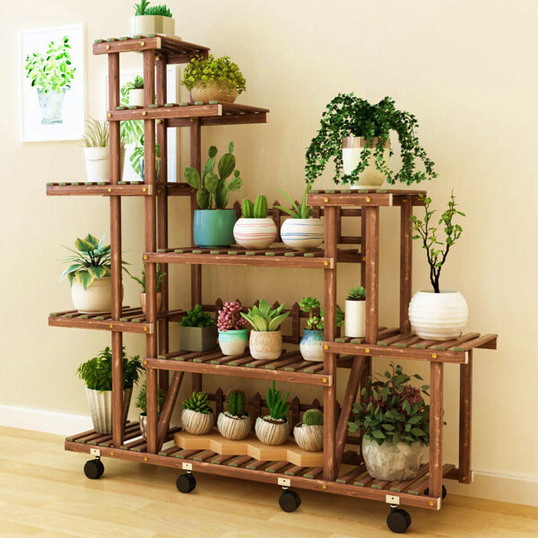 Wood Bamboo flower rack indoor multi-laye Plant Stand Planter Flower Pot Shelf