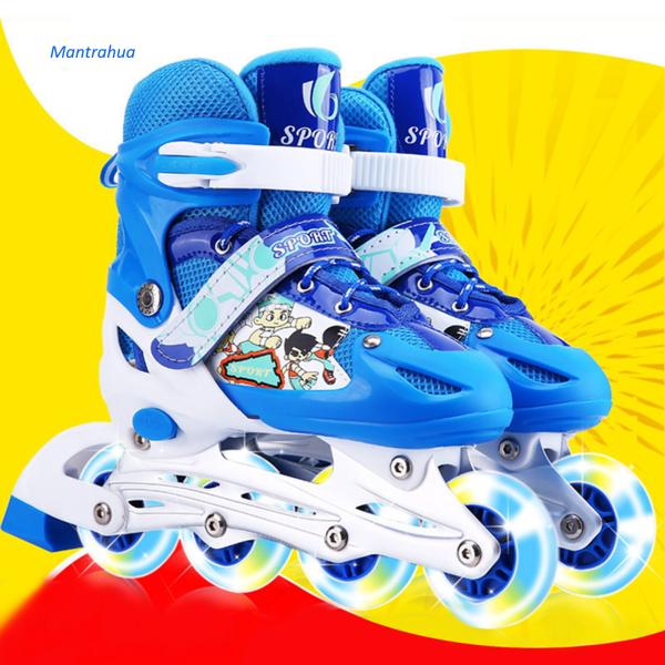 Phân phối Mantrahua 1 Cặp Trẻ Em Flash Giày Trượt Patin Có Thể Điều Chỉnh Giầy Trượt Patin Một Hàng Giày Trượt Băng