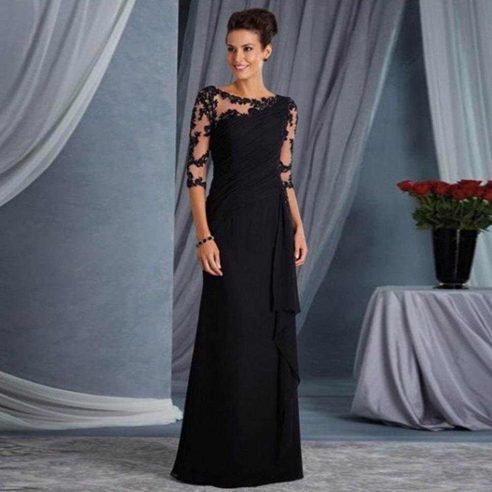 Elegant Formal Lace Stitching Women Dress O-neck