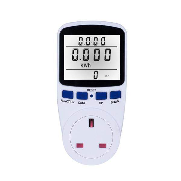 LCD Display Electricity Usage Power Meter Socket Energy Watt Volt Amps Wattage KWH Consumption Analyzer Monitor Outlet--with Backlight AC230V~250V UK Plug