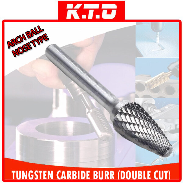 TUNGSTEN CARBIDE BURR ARCH BALL NOSE SHAPE DOUBLE CUT ROTARY BURR FILE with 6MM SHANK