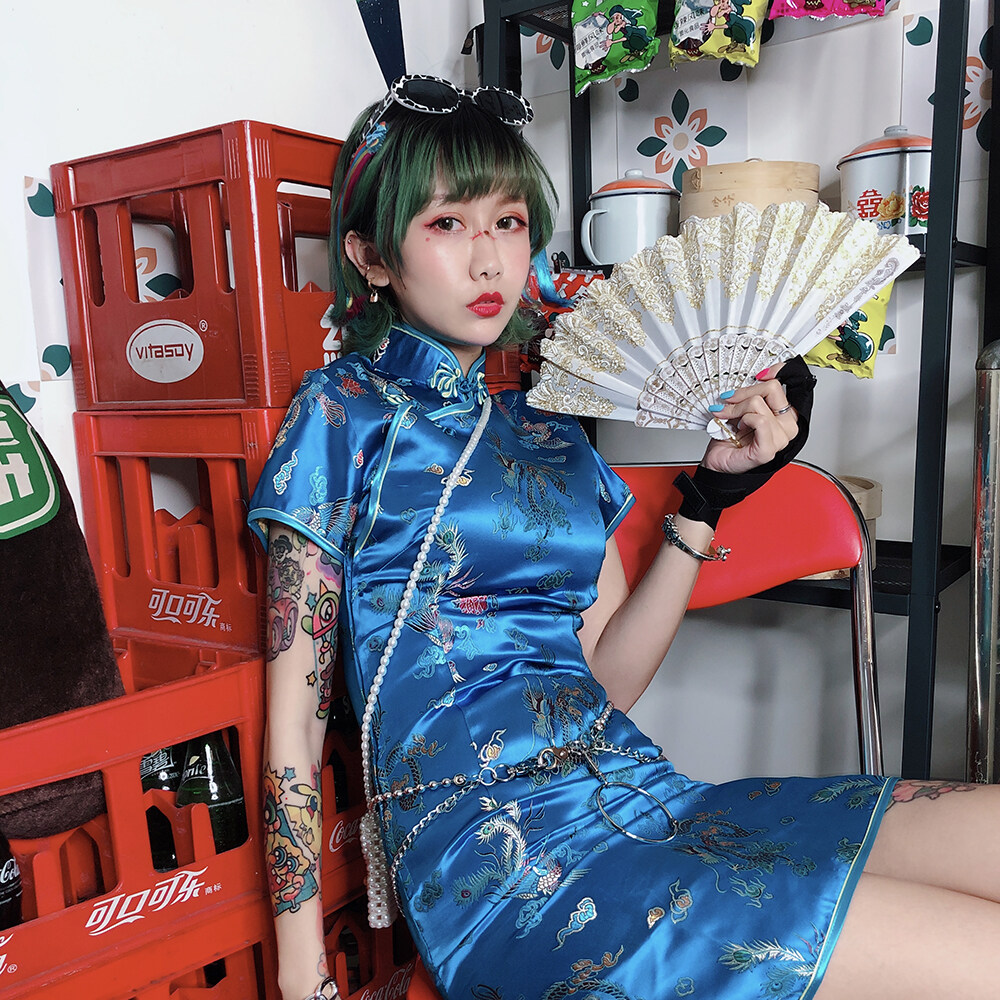 Fanlijia Chinese Style Country Fashion Vintage Cool Girl Retro Slim Bundy Sexy Improved Cheongsam.