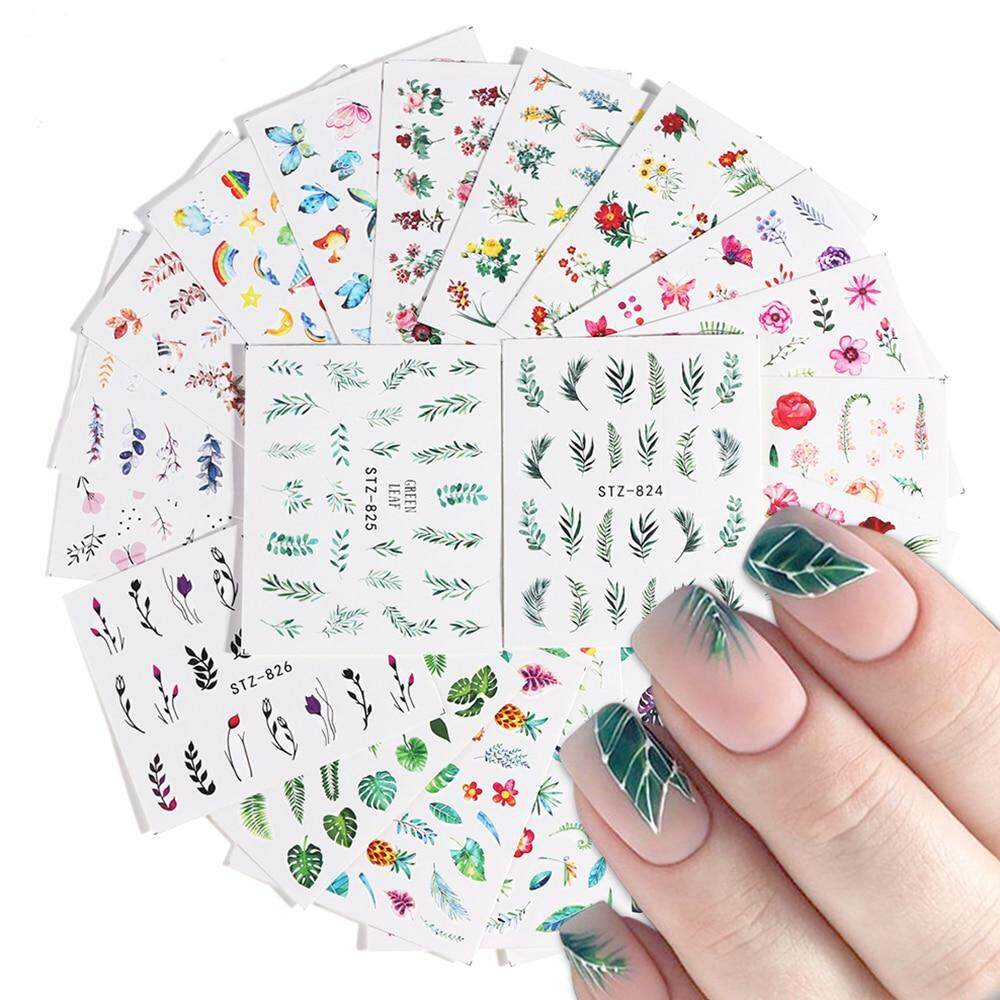 1443ee8f7008 29pcs DIY Simple Green Black Leaf Water Sticker Nail Flower Flamingo Slider  Decal for Manicure Nail