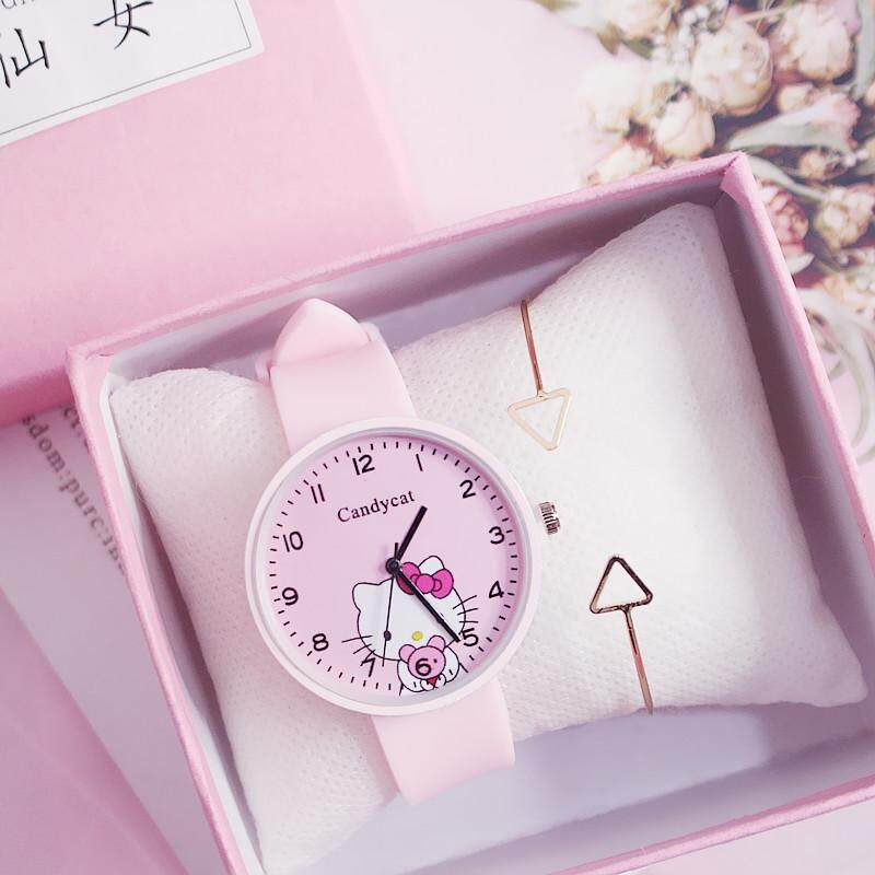 Hello Kitty Kids Watches Girls Boys Quartz Watch Silicone Strap Lovely  Cartoon Fashion Children Wristwatches Cute Clock Gifts Malaysia