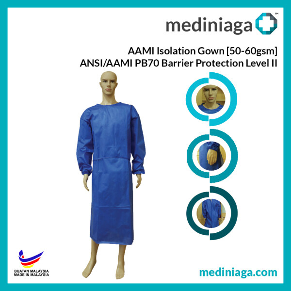 55gsm PPE AAMI ISOLATION GOWN Class II 100% Water Resistant