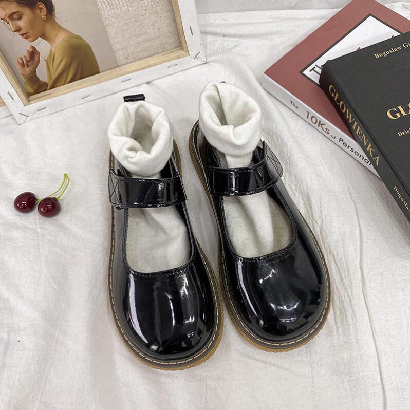 Giày Mũi Tròn Đế Dày Cho Nữ, Giày Đồng Phục Jk Quai Dán Màu Đen Dễ Thương Đế Mềm Đi Giày Da Nhỏ giá rẻ