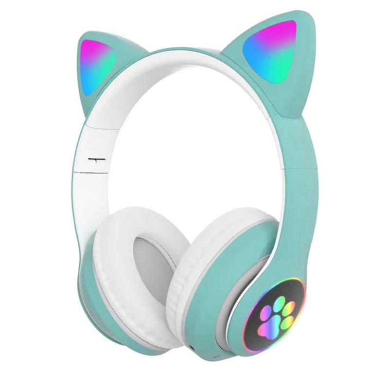 Tai Nghe Bluetooth Thể Thao Không Dây Âm Thanh Nổi Gập Được Gắn Đầu Mèo, Dành Cho Xiaomi Redmi OPPO Vivo Samsung