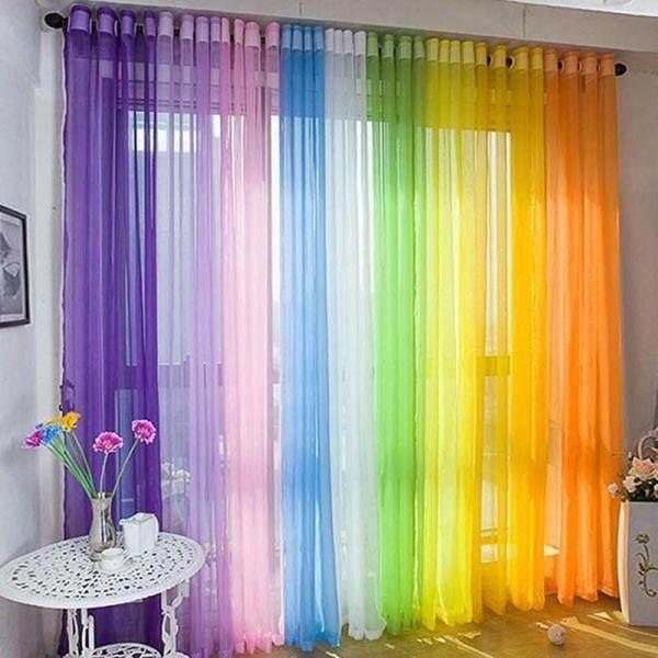 Rèm Cửa Sổ Cửa Voan Vải Tuyn Nhiều Màu, Rèm Mặt Trên Khe Mỏng, Rèm Voan Trơn