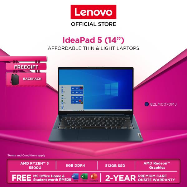 Lenovo IdeaPad 5 |82LM006RMJ/ 82LM0070MJ| 14|Ryzen5 |8GB|512GBSSD|W10H|MS OFFICE H&S|2YR WARRANTY| FOC: BACKPACK Malaysia