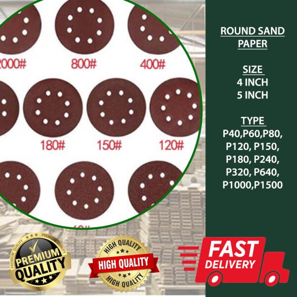 【Ready Stock] Round Sanpeper    Velcro Sand Paper Sand Paper   8 Hole   2 Inch   3 Inch   4 Inch   5 Inch  