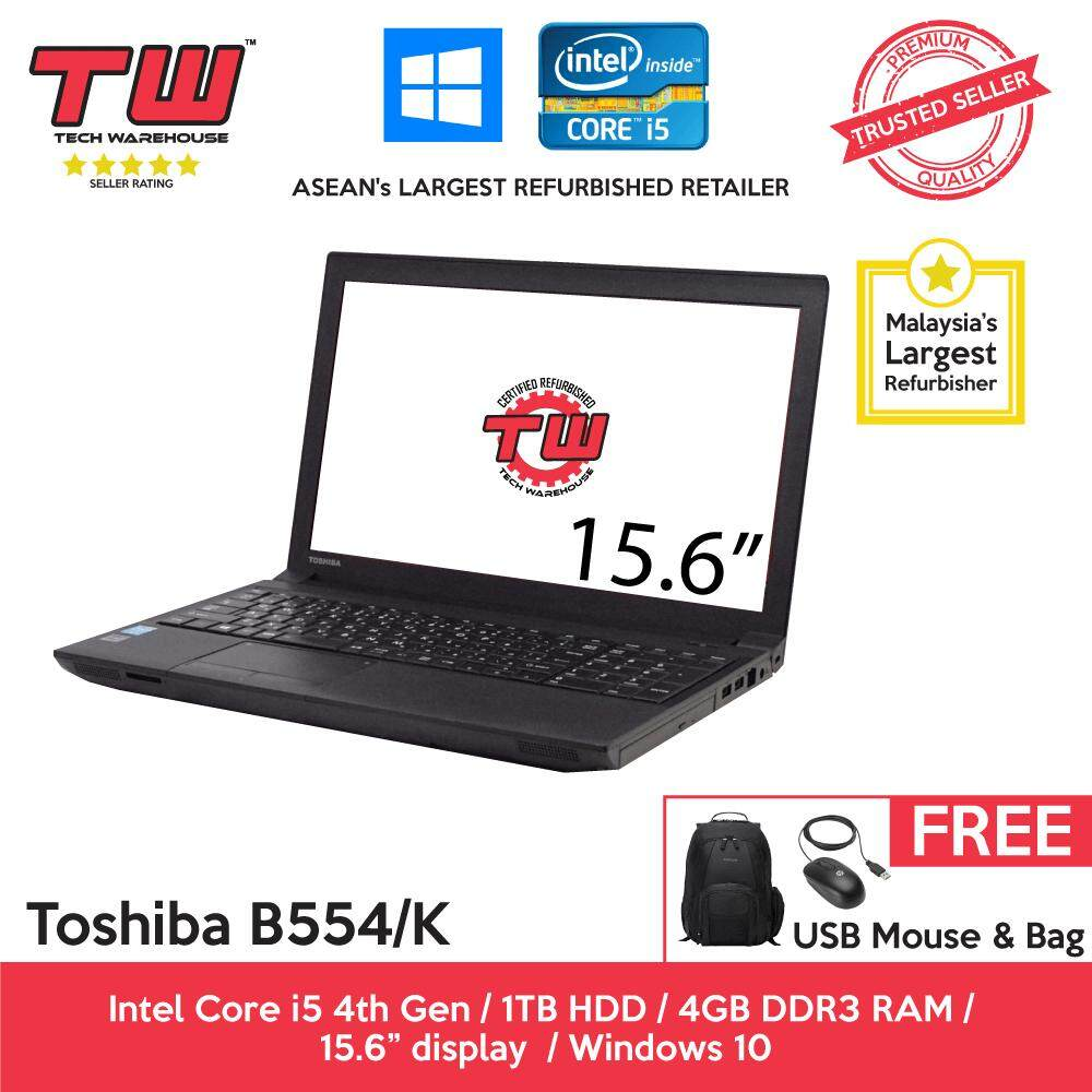 Toshiba Notebook B554/K Core i5 4th Gen 2.50GHz / 4GB RAM / 1TB HDD / Windows 10 Home Laptop / 3 Month Warranty (Factory Refurbished) Malaysia