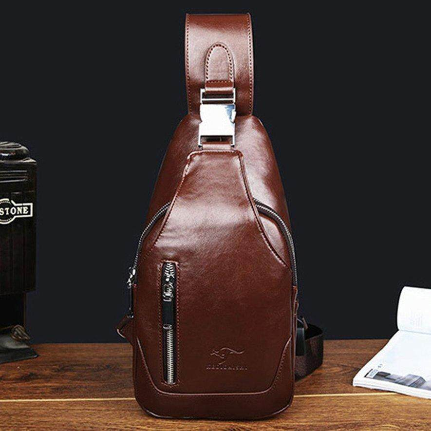 4c1b796392 Awins Stylish Men Chest Bag PU Leather Casual Business Cross Body Bag  Outdoor Bag