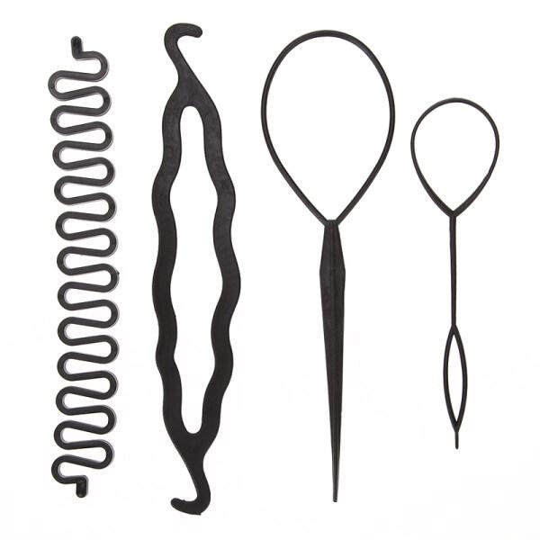 4 Cái/bộ 3 Loại Ma Thuật Tóc Styling Phụ Kiện Set Braiders Tóc Pin Bun Lăn Maker Tóc Bện Twist Curler Công Cụ Tạo Kiểu