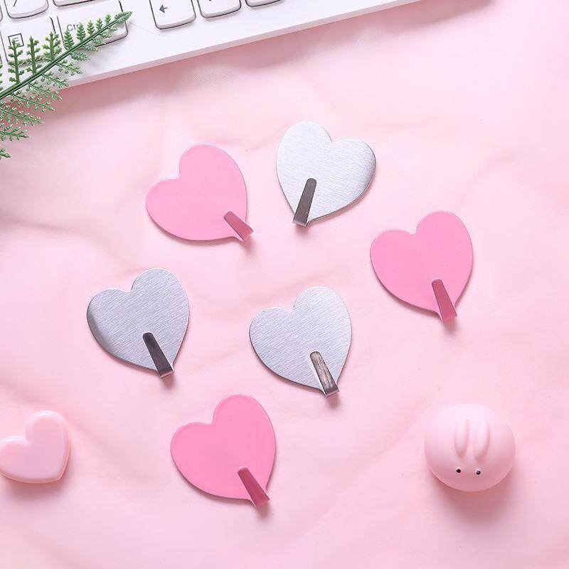 10PCS simple creative home sticky hook love peach heart silver stainless steel hook room without marks decoration