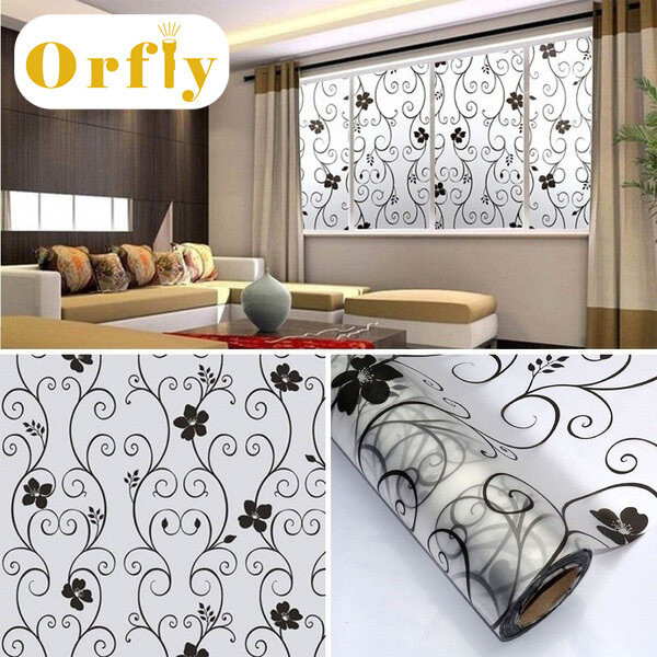 Orfly Sweet Frosted Privacy Cover Glass Window Door Black Flower Sticker Film Adhesive Home Decor