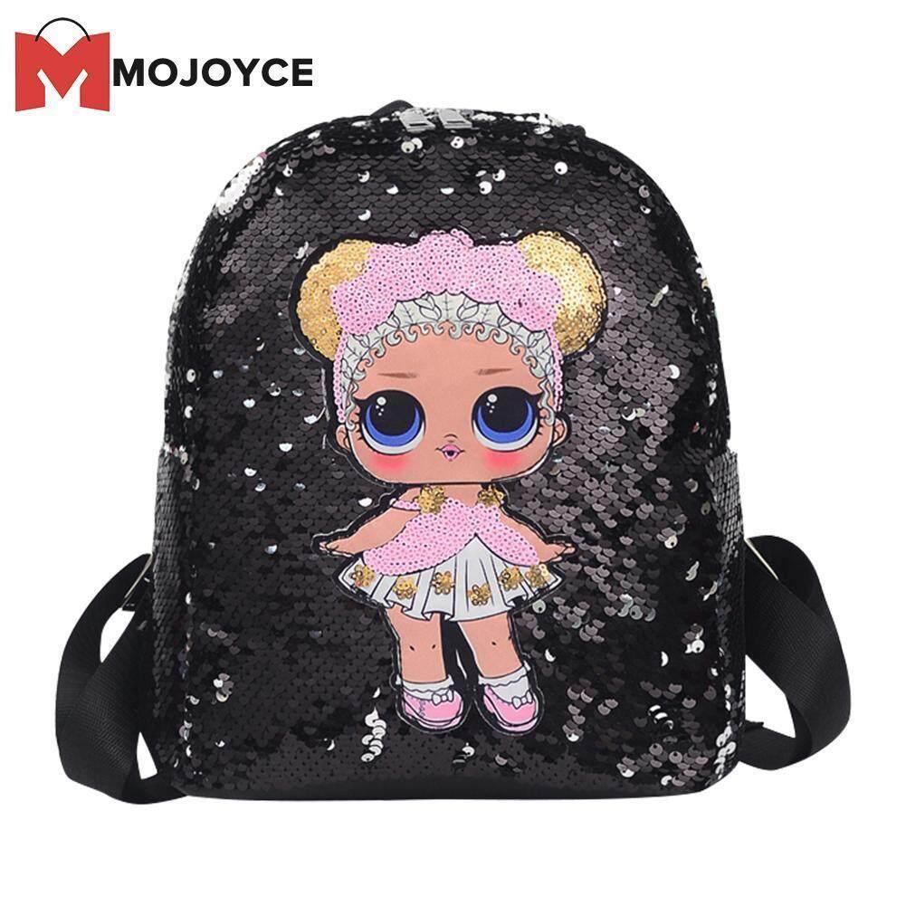 MOJOYCE Cartoon Girl Pattern Travel Backpacks Women Kids Sequins School Knapsack