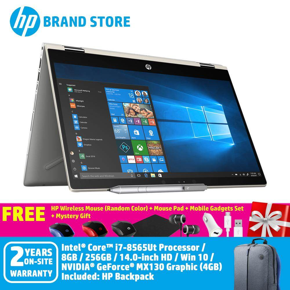 HP Pavilion x360 14-cd1060tx 6JP21PA Pale Gold Notebook / i7-8565U/ 4GB /  256GB M 2SSD/ MX130 4GB/ 14-Inch FHD Touch/Win 10+ Free HP Wireless Mouse +