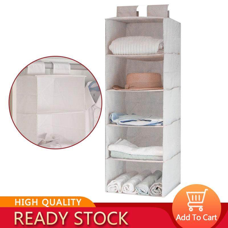 Victory New 5Layer Wardrobe Storage Organizers Hanging Clothing Storage Bag Washable Non-woven Foldable Collection Closet Shelf Case