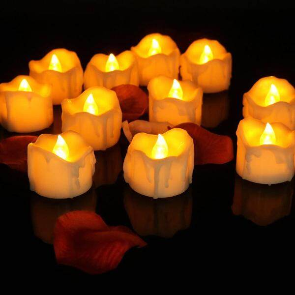 12PCS Flameless Tea Lights Candles Electric Tealights Timer Candle Electronic Luminous Candle for Restaurants Hotels Cafes