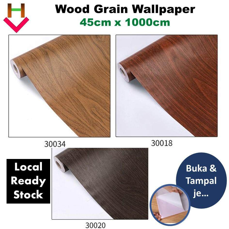 Wood Grain Wallpaper Self Adhesive Wallpaper 45cm x 1000cm Home Decor Kertas Dinding Papan Kayu Wall Paper 木纹墙纸 Cupboard Wallpaper Wood Cabinet Wallpaper