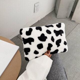 MOJOYCE Ví Tiền Xu Nhung Lông Họa Tiết Ngựa Vằn Bò Thời Trang Ví Đựng Thẻ Ví Cầm Tay Nữ Túi Xách thumbnail
