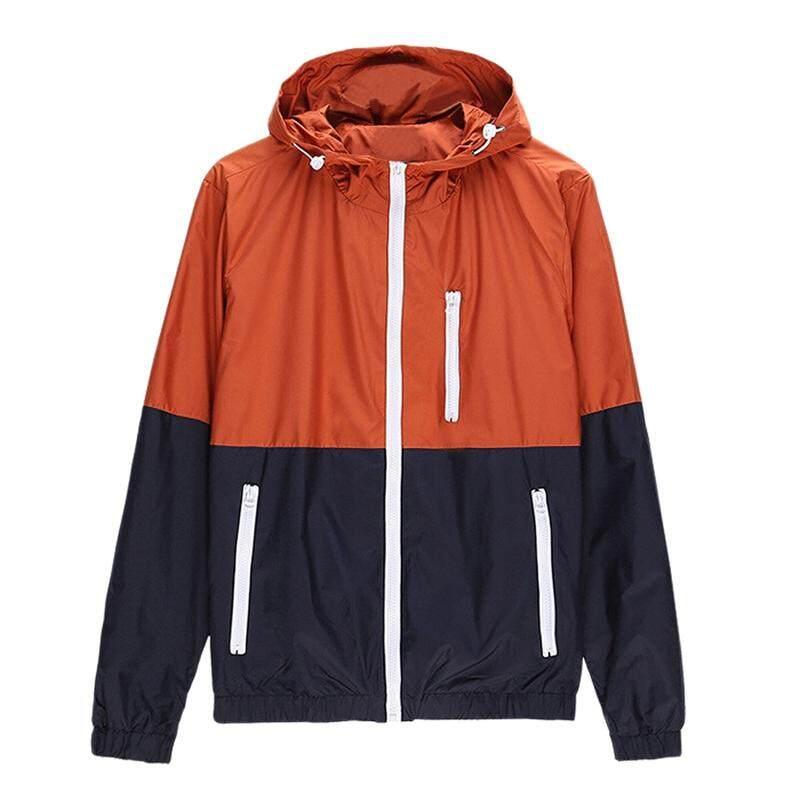 ฤดูใบไม้ผลิฤดูใบไม้ร่วงผู้ชายใหม่กีฬา Hooded เสื้อแจ็คเก็ตกลางแจ้งบุรุษแฟชั่นเสื้อกันลมแบบบางเสื้อนอก Zipper สีส้ม L By Nameyes.
