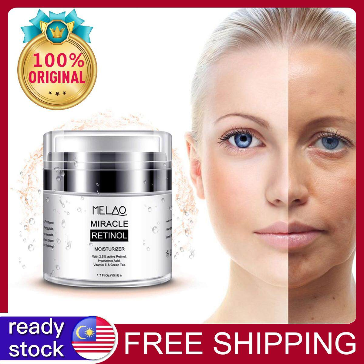 Melao Retinol 2.5% Moisturizer Cream Anti Aging And Reduces Wrinkles And Fine Lines Day And Night Retinol Cream Beauty Nightcream By Encounter.