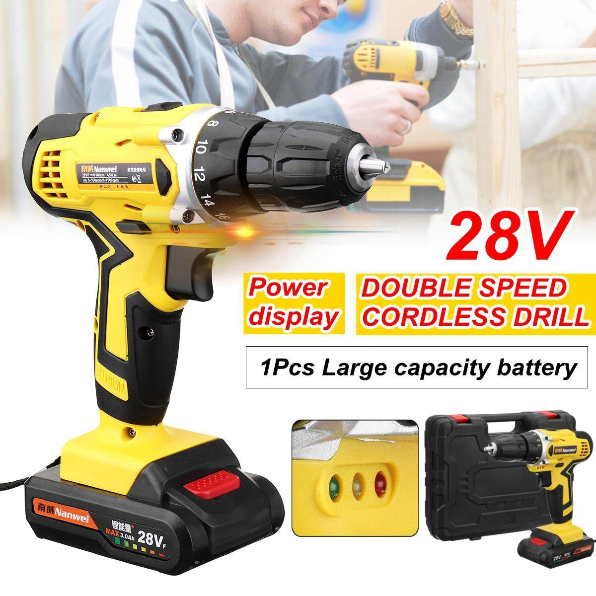 【Free Shipping + Flash Deal】28V Electric Cordless Drill Screwdriver BRUSHLESS Double speed Adjustment LED lighting 1/2Pcs LI-ION Rechargeable battery 35Nm 18-speed Torque