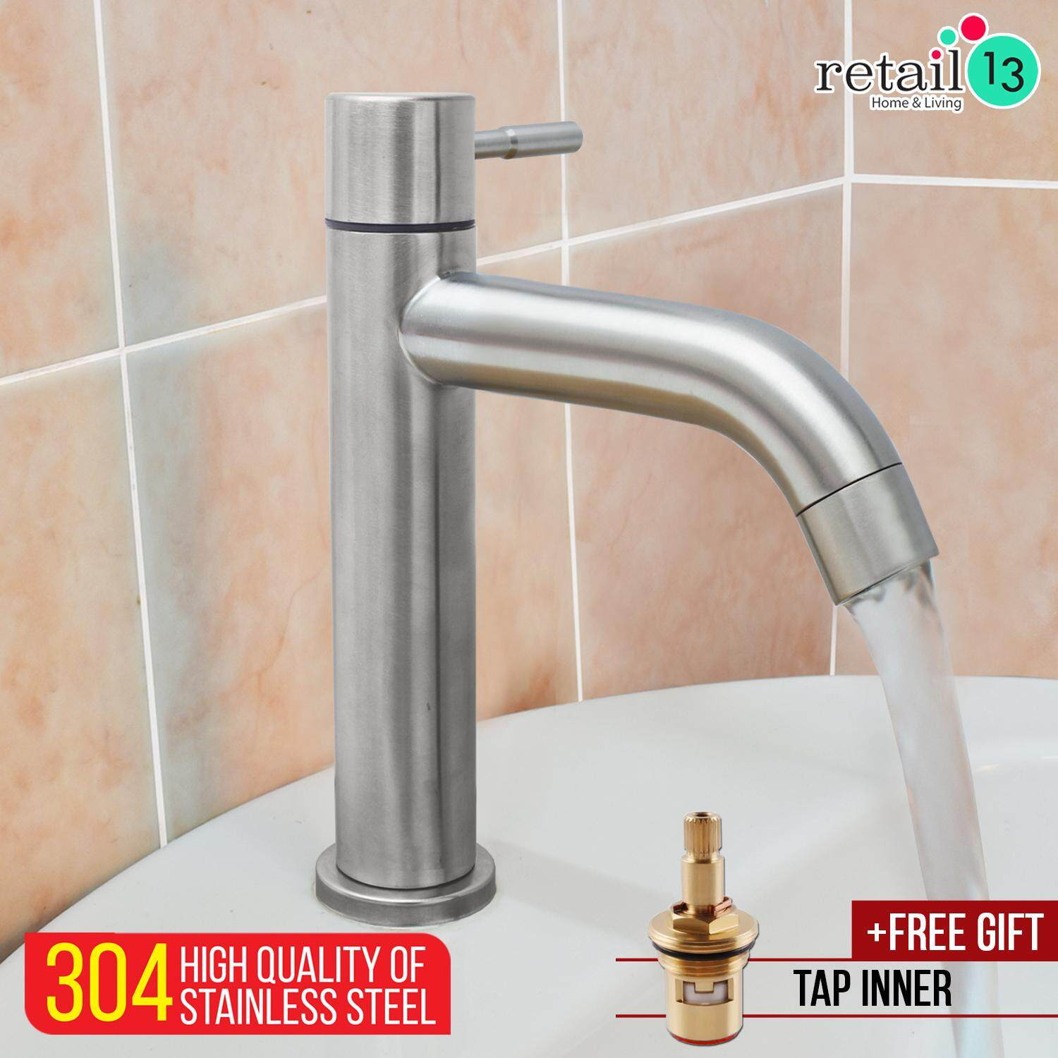 SUS 304 STAINLESS STEEL SINGLE HANDLE MONOBLOCK BATHROOM KITCHEN FAUCET HIGH BASIN TAP
