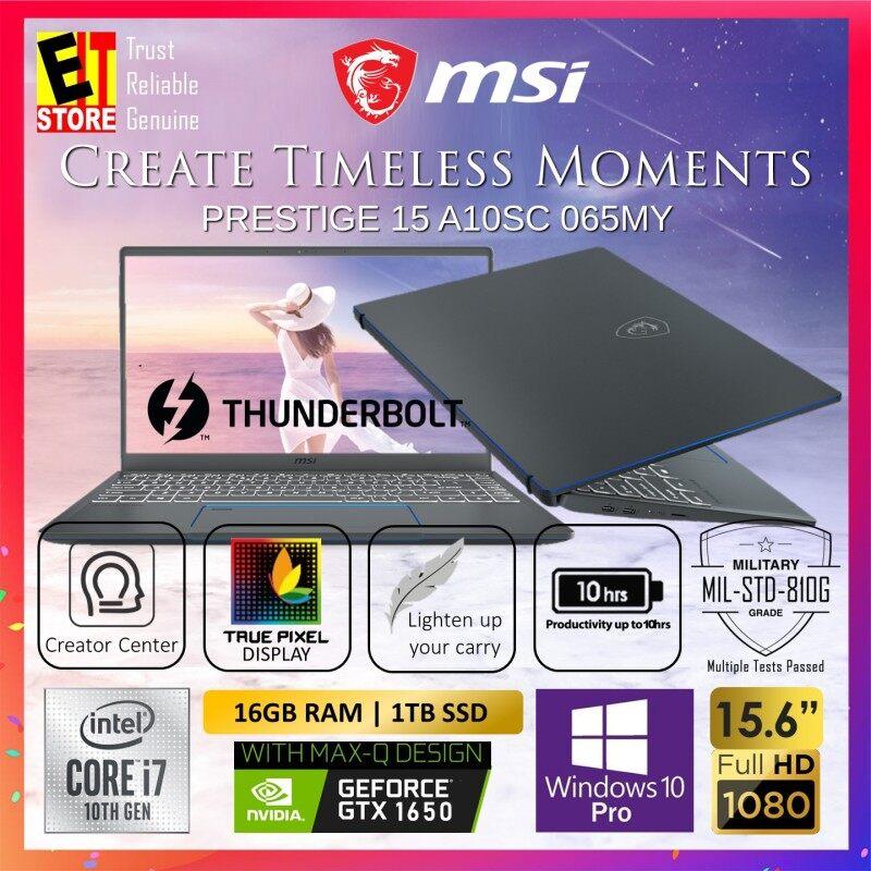 MSI PRESTIGE 15 A10SC 065MY CREATION LAPTOP -CARBON GREY (I7-10710U/16GB/1TB SSD/15.6 FHD/4G GTX 1650 MAX-Q/W10/2YR INTERNATIONAL) + GIFTBOX Malaysia