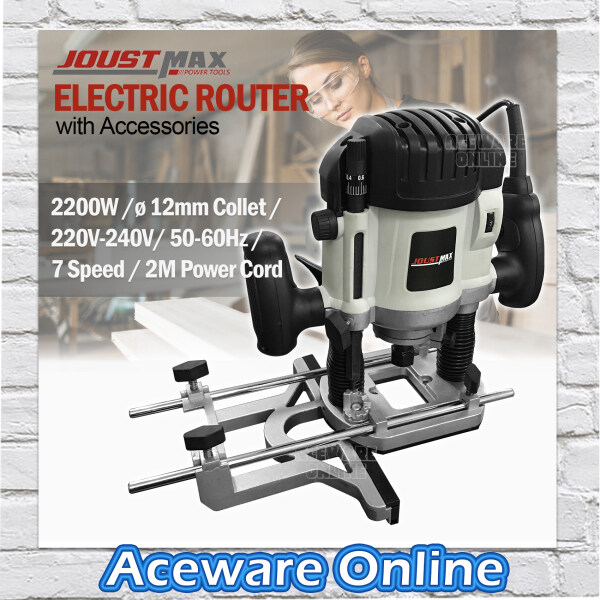 Joustmax JST61201 2200W Electric Router 12mm Collet Woodworking Trimming Machine with Accessories
